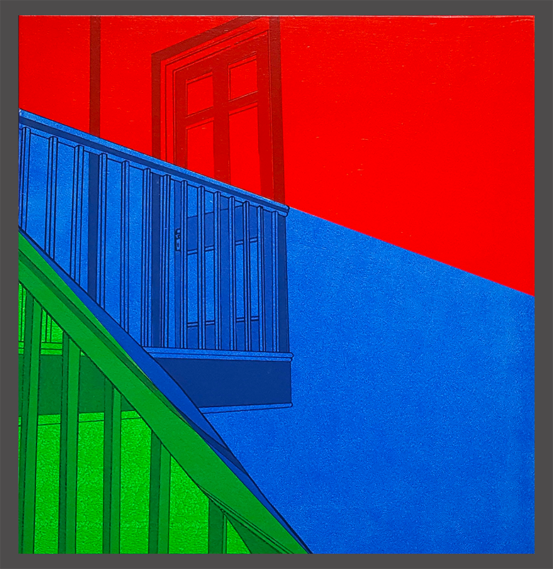 Stairs LANDING Red Blue Green